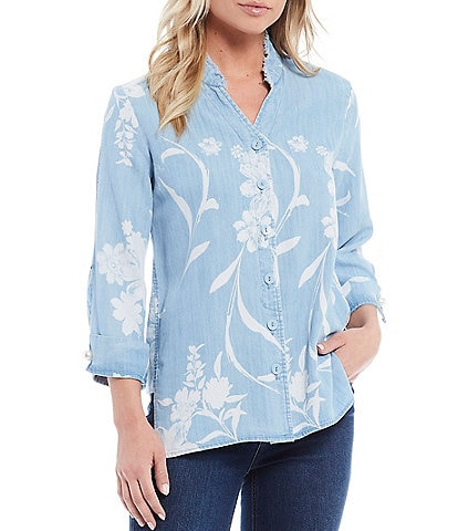 Multiples Floral Print Frayed Collar 3/4 Sleeve Hi-Low Tencel Denim Shirt