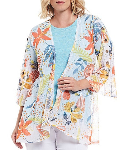 Multiples Floral Print Onionskin Open Front Draped Front Swing Jacket