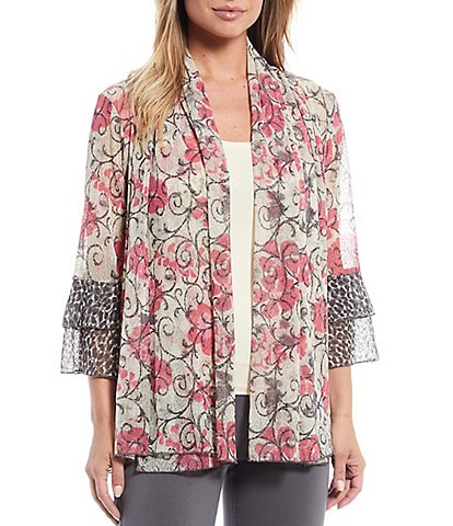 Multiples Floral Print Shawl Collar Double Flounce Cheetah Print Cuffs 3/4 Sleeve Open-Front Drapey Onionskin Jacket