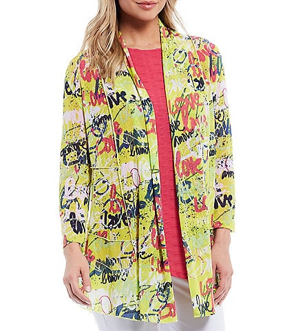Multiples Graffiti Art Print Shawl Collar 3/4 Sleeves Curved Hi-Low Onion Skin Open-Front Jacket