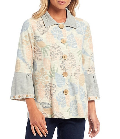 Multiples Palm Leaves Print Textured Knit Collared Button Front 3/4 Sleeve Jacket