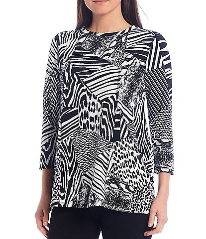 Multiples Petite Size Animal Patchwork Print Ottoman Knit 3/4 Sleeve Top