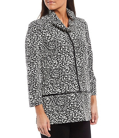 Multiples Petite Size Animal Print Jacquard Cowl Neck 3/4 Sleeve Faux Leather Trim Knit Top