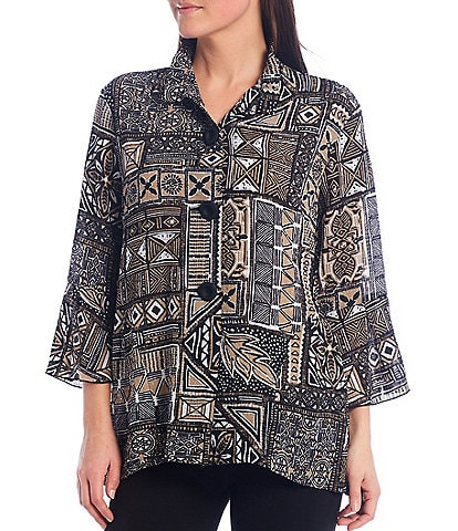 Multiples Petite Size Printed Textured Woven Wire Collar 3/4 Bell Sleeve Hi-Low Peplum Jacket