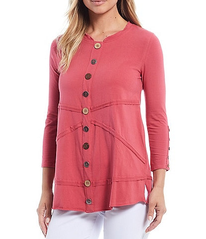 Multiples Petite Size Band Scoop Sleeve Seamed Detail Button Trim 3/4 Sleeve Knit Top