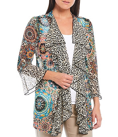 Multiples Petite Size Cheetah Circle Print Onionskin Cascade Collar 3/4 Flounce Cuff Sleeve Open Front Jacket