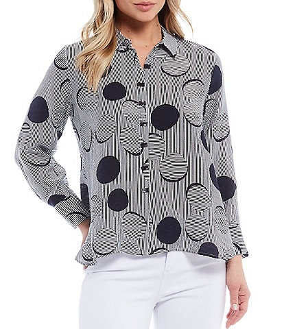 Multiples Petite Size Circle Print Long Sleeve Button Front Crinkle Woven Shirt