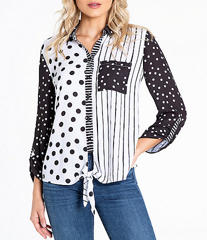 Multiples Petite Size Color Block Multi Dot Stripe Print Georgette Roll-Tab Sleeve Button Down Tie-Front Shirt