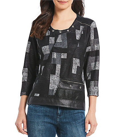 Multiples Petite Size Embossed Faux Leather Grommet Accent Top