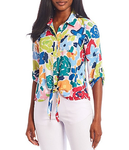 Multiples Petite Size Floral Print Georgette Roll-Tab Sleeve Button Down Tie-Front Shirt