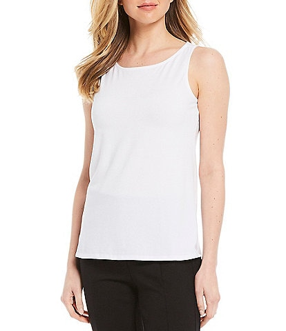 Multiples Petite Size High Neck Solid Cotton Blend Knit Tank