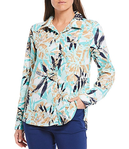 Multiples Petite Size Leaf Print Long Roll-Tab Sleeve Hi-Low Button Down Shirt