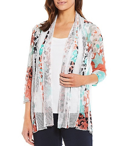 Multiples Petite Size Multicolor Abstract Dot Print Onionskin Shawl Collar Solid Mesh Open-Front Jacket