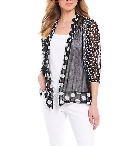 Multiples Petite Size Polka Dot Colorblock Print Onionskin Open Front Jacket