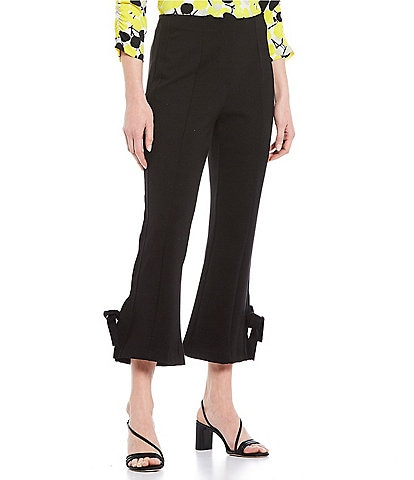 Multiples Petite Size Ponte Flare Leg Pull-On Crop Pants
