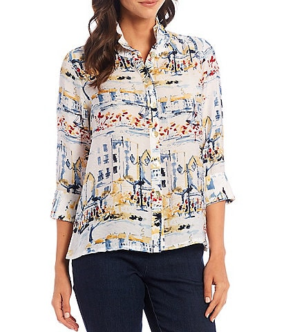 Multiples Petite Size Scenic Print Crinkle Woven Long Sleeve Button Down Hi-Low Shirt