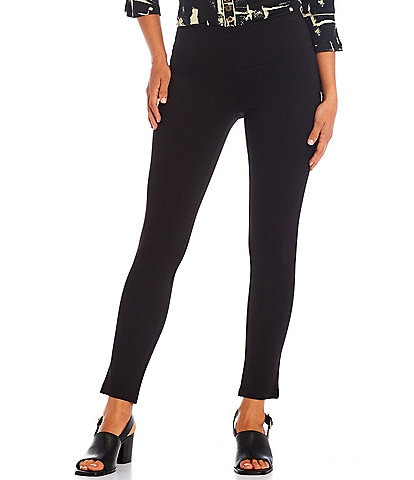Multiples Petite Size Solid Ponte Knit Wide Waistband Leggings