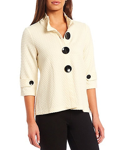 Multiples Petite Size Solid Puff Pattern Jacquard Knit Stand Collar 3/4 Sleeve Button Front Swing Jacket