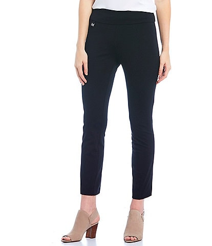 Multiples Petite Size Solid Pull-On Easy Fit Knit Straight Leg Ankle Pants