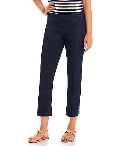 Multiples Petite Size Solid Pull-On Ladder-Hem Detail Crop Pants