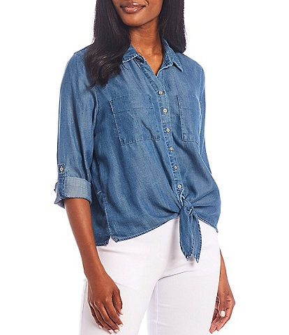 Multiples Petite Size Solid Roll-Tab Sleeve Button Down Tie-Front Lyocell Shirt