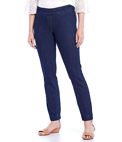 Multiples Petite Size Solid Straight Leg Pull-On Pants