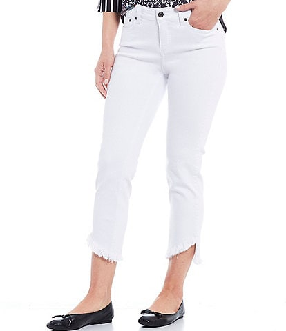 Multiples Petite Size Straight Leg Embroidered Asymmetrical Fringe Ankle Jeans