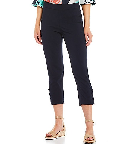 Multiples Petite Size Stretch Twill Straight Leg Button Hem Detail Pull-On Crop Pants