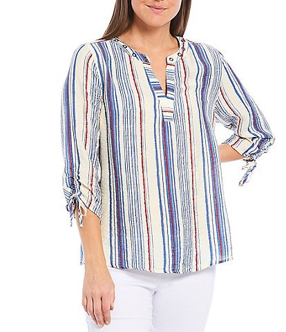 Multiples Petite Size Stripe Crinkle Woven Embellished Banded Split V-Neck 3/4 Drawstring Sleeve Top