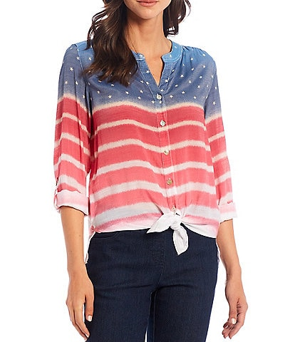 Multiples Petite Size Striped Star Print Band Split V-Neck Roll-Tab Sleeve Button Down Tie Front Shirt