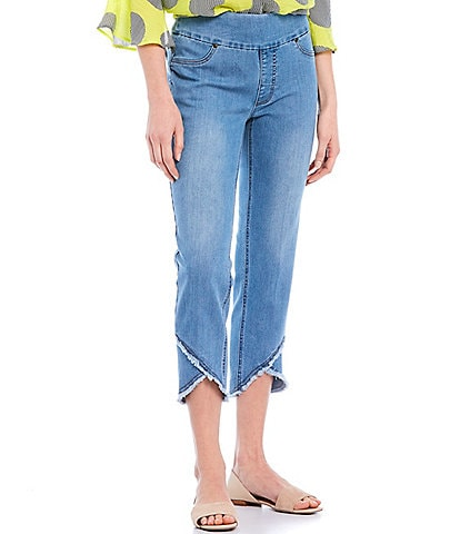 Multiples Petite Size Wide Waistband Pull-On Fringed Lapped Hem Crop Pants