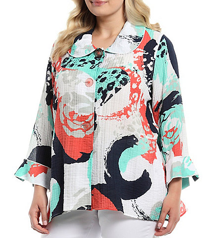 Multiples Plus Size Abstract Floral Print Round Collar 3/4 Sleeve Flared Cuff Button Front Hi-Low Jacket