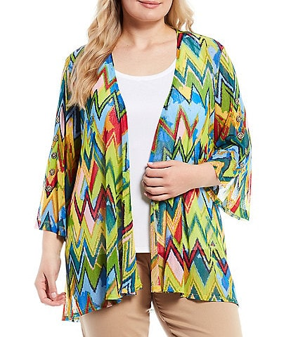 Multiples Plus Size Blurred Chevron Print 3/4 Sleeve Drape Open-Front Onionskin Swing Jacket