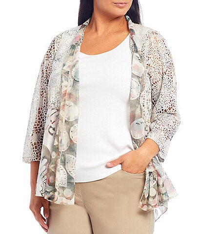 Multiples Plus Size Burnout Multi Print Shawl Collar 3/4 Sleeve Hi-Low Open Front Jacket