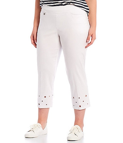 Multiples Plus Size Circle Embroidered Hem Pull-On Straight Leg Crop Pants