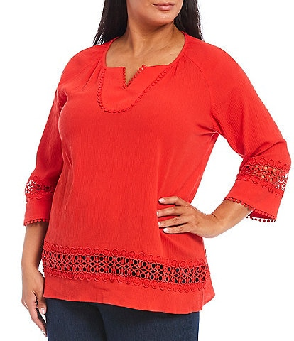 Multiples Plus Size Crinkle Gauze Notch V-Neck Lace Trim 3/4 Sleeve Top