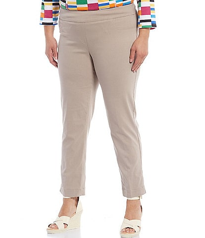 Multiples Plus Size Flat Front Straight Leg Pull-On Ankle Pants