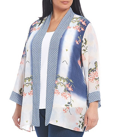 Multiples Plus Size Floral Placement Print Crinkle Yoryu Kimono Sleeve Open-Front Jacket