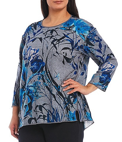 Multiples Plus Size Flower Multi 3/4 Sleeve Hi-Low Brushed Knit Top
