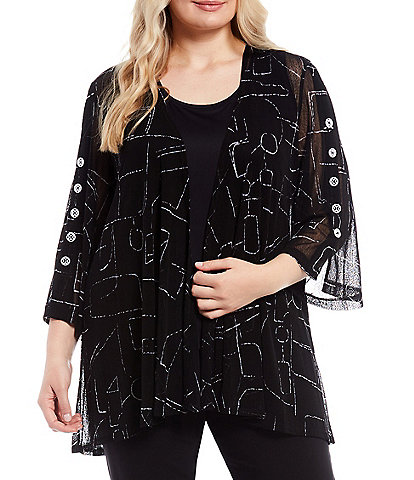 Multiples Plus Size Geo Line Print 3/4 Sleeve Drape Open-Front Onionskin Swing Jacket