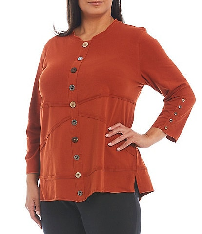 Multiples Plus Size Banded Collar Neck Seamed Detail Button Trim 3/4 Sleeve Knit Top