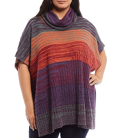 Multiples Plus Size Multi Color Stripe Cowl Neck Sweater Poncho