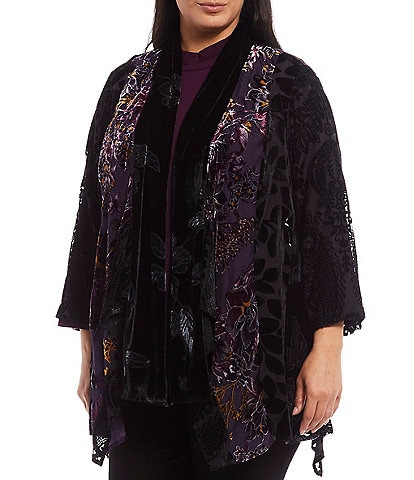 Multiples Plus Size Multi Print Burnout Velvet Draped Open Front 3/4 Sleeve Jacket