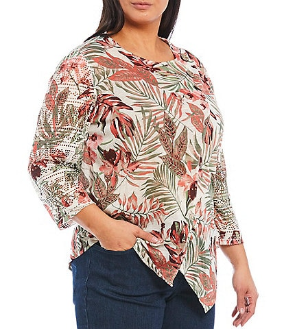Multiples Plus Size Palm Leaves Print 3/4 Lace Trim Sleeves Asymmetrical Slub Knit Top