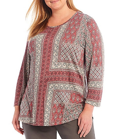 Multiples Plus Size Patchwork Print Wide Neck 3/4 Sleeve Textured Knit Top