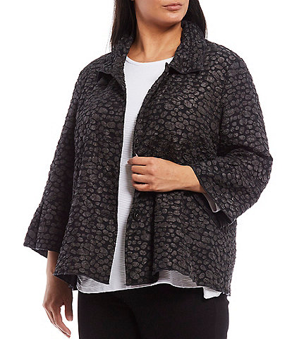 Multiples Plus Size Pucker Dot Jacquard Collard 3/4 Flounce Sleeve Jacket