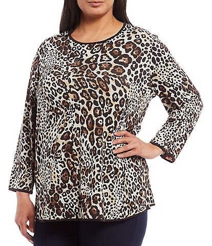 Multiples Plus Size Reversible Plaid & Leopard Print 3/4 Sleeve Swing Knit Top