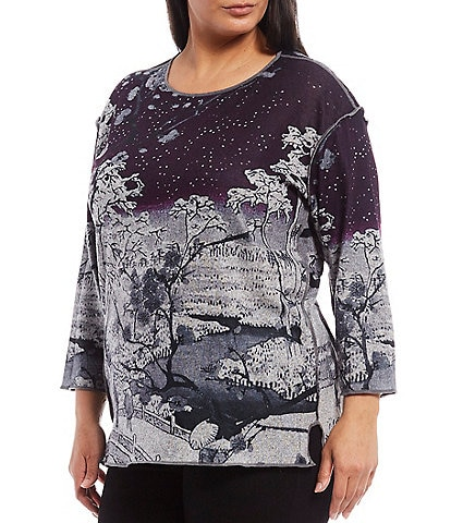 Multiples Plus Size Scenic Print 3/4 Sleeve Hi-Low Brushed Knit Top