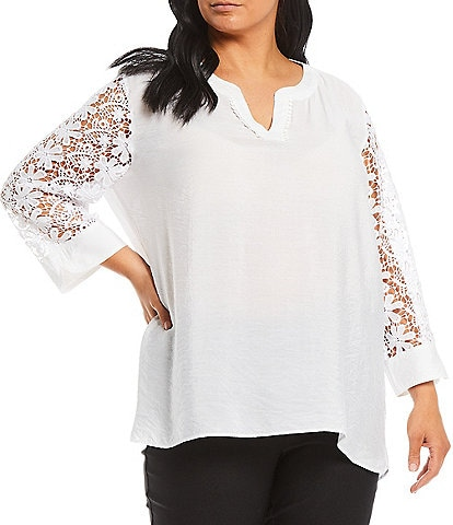 Multiples Plus Size Solid Crinkle Woven Pom Pom Trim Notch Neck Lace-Sleeve Hi-Low Top