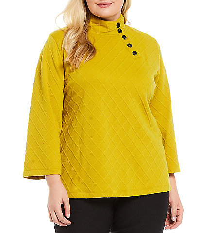 Multiples Plus Size Solid Jacquard Sweater Knit Button Detail Mock Neck 3/4 Sleeve Tunic